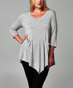 Heather Gray Pocket V-Neck Tunic - Plus by Elegant Apparel #zulily #zulilyfinds