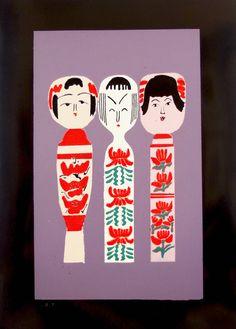 Three Traditional Dento Kokeshi. Cute Hand Pulled Silkscreen Print by Norinaka Suzuki. Kawaii. Japanese Woodcut. Vintage.