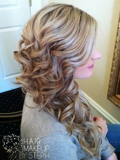 long sideswept wedding curls ~  we ❤ this! moncheribridals.com