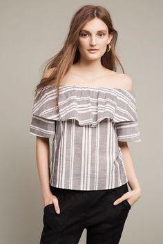 Festive Stripe Off-The-Shoulder Top | Anthropologie