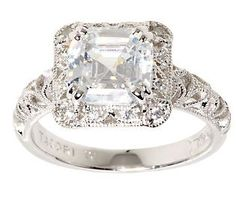 Tacori IV Diamonique Epiphany Asscher Cut Crescent Ring