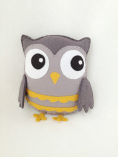 Kawaii Grey Owl Plush by littlehappystitches on Etsy