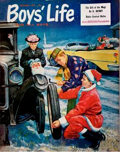 Boys' Life Magazine December 1958 - The 'dutiful' boy scouts (of the day) Magazines For Kids, Vintage Magazines, Girl Scout Sash, Boys Life Magazine, Creepy Comics, Life Cover, Vintage Christmas Images, Vintage Boys, Eagle Scout