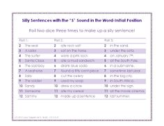 """Ms. Lane's SLP Materials: Articulation: Silly Sentences with the """"S"""" Sound"""