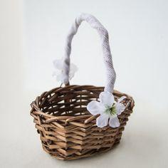 Set 2 cestini fiori matrimonio stile rustico, cestino fiori damigelle, cestino fiori paggetto,cestino made in Italy decorato per matrimonio