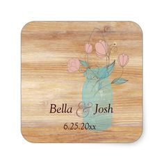 Rustic Mason Jar Peach Flowers Wedding Sticker