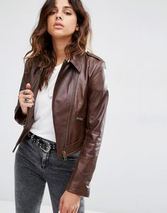 Image 1 ofASOS Leather Biker Jacket in Classic Fit with Stitch Detail