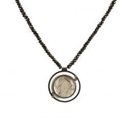 Daphne Krinos: Black Spinel, Tourmaline Quartz  Diamond Necklace