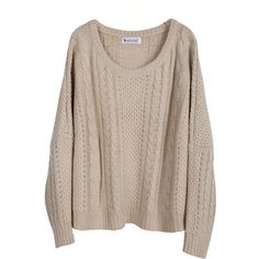Apricot Batwing Long Sleeve Pullovers Sweater ($35) found on Polyvore