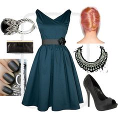 My little blue danube party dress that I wear with charcoal accessories...