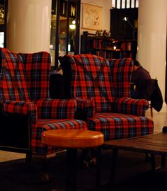 Plaid wingback chairs