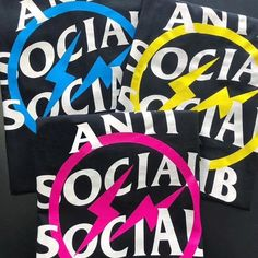 Anti Social Social Club x Fragment Lightning Bolt Tees Are you Team Blue? or Team PInk? Whatever team you choose, one thing for sure - You are a winner! Anti Social Social Club, Lightning Bolt, Hypebeast, Yellow, Blue, Streetwear, Street Style, Tees, Day