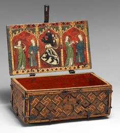 An oaken coffret (Minnekästchen) with tempera paintings, second quarter of the 14th century Germany - Upper Rhineland,   The Met.