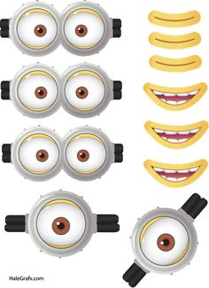 Minion Goggles Mouths Free Printable Despicable Me 2 Picture Minions Eyes, Minion Face, Minion Movie, Minions Despicable Me, My Minion, Funny Minion, Birthday Cake Kids Boys, Happy Birthday Minions, Diy Crafts Home