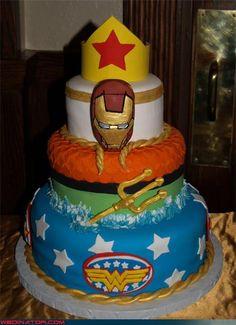Superhero wedding cake - Your special day. Wedding Sweets, Themed Wedding Cakes, Cool Wedding Cakes, Wedding Cake Designs, Wedding Cupcakes, Wedding Stuff, Wedding Ideas, Superhero Wedding Cake, Superhero Cake