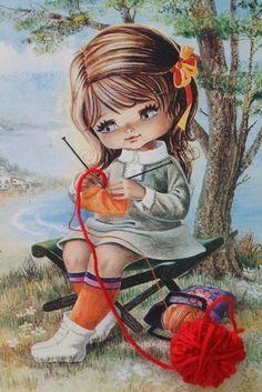 Menina tricotando
