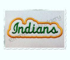 $2.95Applique Indians Team Name Machine Embroidery Design