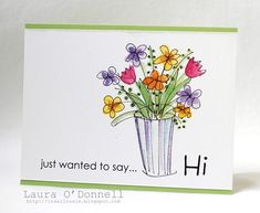 just wanted to say… hi made for the March contest, Spring Hello. I used the Hero Arts Garden Flower Sketches Cute Cards, Diy Cards, Art Carte, Drawn Art, Flower Sketches, Paint Cards, Watercolor Cards, Watercolour, Hero Arts