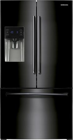 French Door Refrigerator with Spill Proof Glass Shelves, Humidity Controlled Crispers, Power Freeze/Cool and External Ice/Water Dispenser: Black Black French Door Refrigerator, Wine Refrigerator, Star Wars, Water Dispenser, Glass Shelves, Home Depot, Cool Things To Buy, Conditioner, Kitchen Appliances