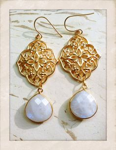 Gold Earrings Moonstone Enchanted Gifts for Her by MinouBazaar