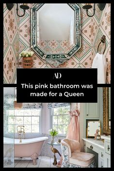 Nicolas Bijan and his wife, interior designer Roxy Bijan, took a youthful, vibrant approach to redecorating Taylor Swift's former home and added a pink bathroom fit for a queen. 💗 #pink #clawfoottub #vanity #mirror #wallpaper #windows #bathroom #shower #decor #design Architectual Digest, Lash Room, Cool Gadgets To Buy, Sad Wallpaper, House Interiors, Amazing Bathrooms, Slipcovers, Taylor Swift, Room Decor