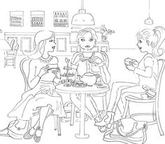 High tea with the girls #illustratie #illustration #blackandwhite #lijntekening #hightea fantazien.nl