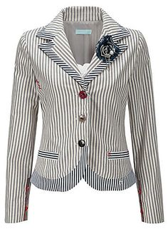 Joe Browns Fab Ticking Stripe Jacket - Fun, funky and a little outlandish! Yes we love it, the stripes, the embroidery and the wacky button details. This fitted jacket is perfect with our 'fit and flare' jeans. Bring on the summer.  #orawards