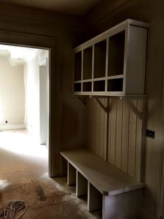 New Arts and Crafts style cubbies by David Weis and Meridian Construction.