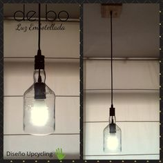 Lámpara de techo, modelo Cristal, creada con una botella transparente, y florón de madera recuperada de pallets, color natural. Mason Jar Lamp, Table Lamp, Ceiling Lights, Lighting, Pendant, Natural, Color, Home Decor, See Through