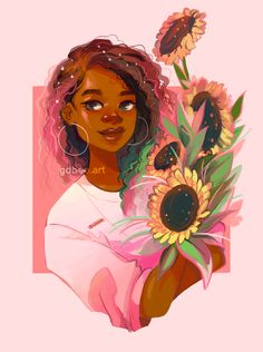 'Pink Sunflowers' Poster by GDBee Black Girl Art, Black Women Art, Art Girl, Drawings Of Black Girls, Pink Sunflowers, Arte Black, Arte Indie, Sunflower Drawing, Black Art Pictures