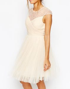 Image 3 of Little Mistress Ruched Bodice Skater Dress With Pleated Tulle Skirt