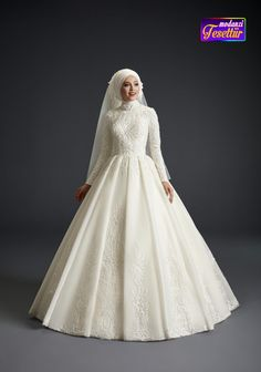 Lace Embroidery Pleated Wedding Dress, Head Accessories are included (Dreamy tulle and Lace). Muslim Wedding Gown, Muslimah Wedding Dress, Beaded Wedding Gowns, Muslim Wedding Dresses, Disney Wedding Dresses, Wedding Dress Trends, Dream Wedding Dresses, Muslim Brides, Wedding Hijab Styles