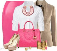 Love the pop of pink in this outfit.  Must track down this pink purse - love it!! #springfashion