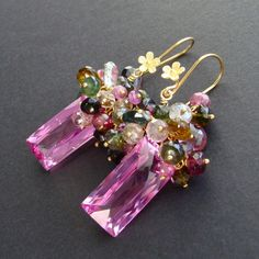 Items similar to Pink Topaz Baguettes with Tourmaline Frills Earrings - Delphine Earrings on Etsy Wire Wrapped Jewelry, Wire Jewelry, Jewelry Crafts, Beaded Jewelry, Jewelery, Earrings Handmade, Handmade Jewelry, Pink Topaz, Bijoux Diy