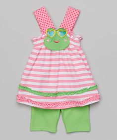 Look what I found on #zulily! Pink Frog Tank & Shorts - Infant, Toddler & Girls by Nannette Girl #zulilyfinds