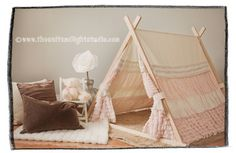such a cute little tent for kids room. Gonna start looking for fabric!! A-Frame Ruffle Teepee Tent - Complete Package. $280.00, via Etsy.