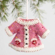 Felt Embellished Jacket Ornaments Set of 3 - World Market Christmas Tree Ugly Sweater, Christmas Ornaments To Make, Homemade Christmas Gifts, Felt Ornaments, Handmade Christmas, Xmas, Fleece Crafts, Cute Christmas Outfits, Felt Crafts Patterns