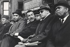 Malcolm X and Congressman Adam Clayton Powell at outdoor Harlem rally.