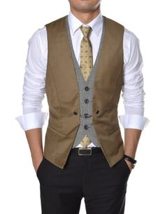 (VE34) TheLees Mens premium layered style slim vest waist coat Brown Large(US Medium) TheLees,http://www.amazon.com/dp/B00BV2TJA8/ref=cm_sw_r_pi_dp_keNhsb13QVYSHQXZ