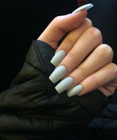 Long coffin gray matte nails  @jesswinston95