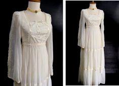 $72.22 as-is. vintage 70s Prairie Dress. Romantic White Boho Wedding Gown or Customizable Zombie Costume OPTIONAL BLOOD & Distressing Size XS by wardrobetheglobe on Etsy