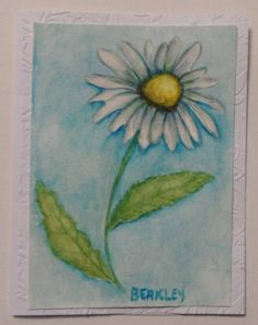 Watercolor Daisy Card Hand Painted by LisasPaintedCrafts on Etsy