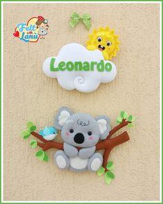 Koala Felt Wreath, Felt Garland, Felt Ornaments, Felt Animal Patterns, Stuffed Animal Patterns, Felt Crafts, Diy And Crafts, Crafts For Kids, Felt Name Banner