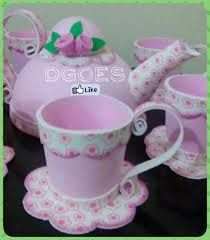 eva termoformado - Pesquisa Google Cd Crafts, Foam Crafts, Flower Crafts, Diy And Crafts, Crafts For Kids, Paper Crafts, Tea Party Crafts, Tea Party Decorations, Craft Party