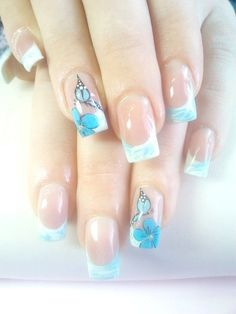 white - blue - flower - butterfly - french manicure - nail art