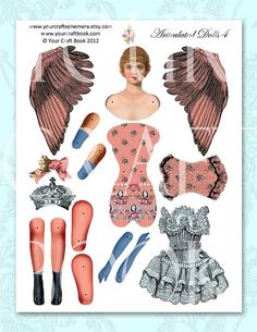Vintage Paper Doll Digitial Download by yourcraftephemera, $7.99