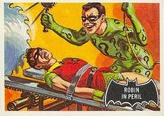 1966 Batman Black Bat Card No.42 Robin in Peril | #comics #comicbooks #dccomics #superheroes #batman #tradingcards #topps #art #artwork