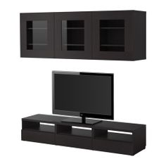 BESTÅ TV storage combination IKEA Vents at the top of the bench helps improve air circulation around electronic components.    media stand $328