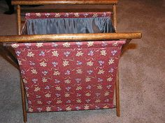 Vintage Folding Knitting Or Crocheting Bag Wood Frame