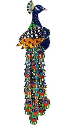 """""""Proud as a Peacock"""" pin. From the Lunch at The Ritz 2 Go® USA Collection. This pin has an enhancer on the back and can be worn on any necklace as a pendant. 5.75"""" Long by 1.5"""" Wide. Gold Finish. Designed by Esme Hecht and Zander Elliott. Made in the USA."""